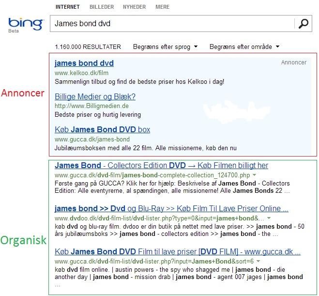 Hvordan ser en annonce på Bing ud?