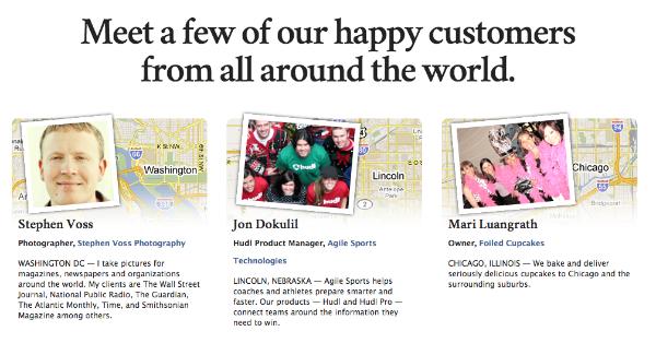 Her får glade kunder plads til egen-reklame. Hos 37signals