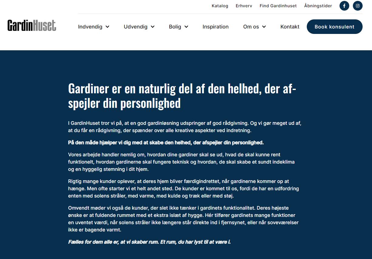 Webtekster til GardinHuset